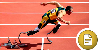 Oscar Pistorius coming off the starting blocks, running on carbon fibre blades