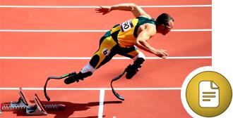 Oscar Pistorius coming off the starting blocks, running on carbon fibre blades