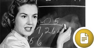 Teacher at blackboard