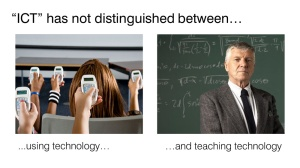 The difference between using ICT and teaching ICT