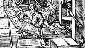 A 1568 woodcut published in Meggs, Philip B. A History of Graphic Design. John Wiley & Sons, Inc. 1998. (p 64), via Wikipedia